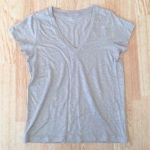 NWT J. Crew Silver Sparkle Linen V Neck Tee Shirt
